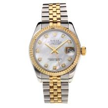 Rolex Datejust Swiss ETA 2355 Automatic Movement Two Tone with White Dial Sapphire Glass