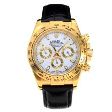Rolex Daytona Automatic Yellow Gold Case with White Dial Leather Strap-Stick Markers