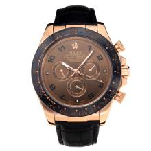 Rolex Daytona II Automatic Ceramic Bezel Rose Gold Case with Coffee Dial Leather Strap-Sapphire Glass