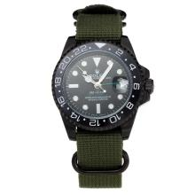 Rolex GMT-Master II Automatic Ceramic Bezel PVD Case with Black Dial Green Cloth Strap