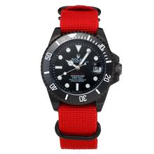 Rolex Submariner Automatic Ceramic Bezel PVD Case with Black Dial Red Cloth Strap