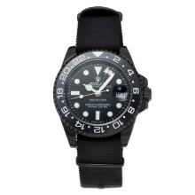 Rolex GMT-Master II Automatic Ceramic Bezel PVD Case with Black Dial Black Cloth Strap
