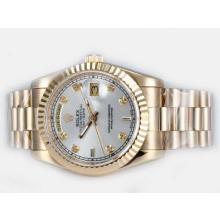 Rolex Day-Date Automatic Full Gold Diamond Marking with Silver Dial