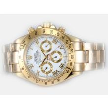Rolex Daytona Automatic Full Gold with White Dial Roman Marking