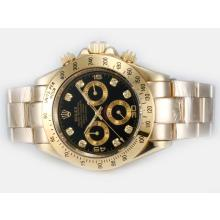 Rolex Daytona Automatic Full Gold Diamond Marking with Black Dial