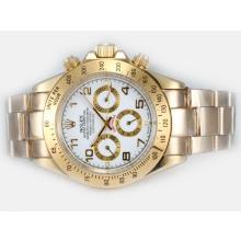Rolex Daytona Automatic Full Gold with White Dial Number Marking