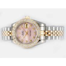 Rolex Datejust Automatic Two Tone Diamond Marking and Bezel with Pink Dial