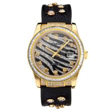 Rolex DateJust Automatic Yellow Gold Case with Black Dial Rubber Strap-Sapphire Glass