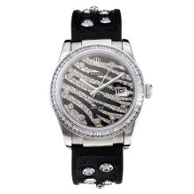 Rolex DateJust Automatic with Black Dial Rubber Strap-Sapphire Glass