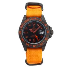 Rolex Explorer Automatic PVD Case with Black Dial Orange Cloth Strap