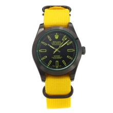 Rolex Milgauss Automatic PVD Case with Black Dial Yellow Cloth Strap