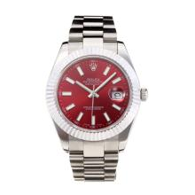 Rolex Date Just II Swiss ETA 2836 Movement with Red Dial S/S-Sapphire Glass-1