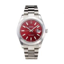 Rolex Date Just II Swiss ETA 2836 Movement with Red Dial S/S-Sapphire Glass