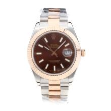 Rolex Date Just II Swiss ETA 2836 Movement Two Tone with Brown Dial Sapphire Glass