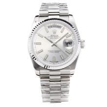 Rolex Day Date Automatic with Silver Dial S/S-Same Chassis as the Swiss Version