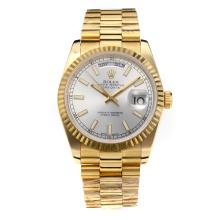 Rolex Day Date Automatic Full Yellow Gold with Silver Dial-Same Chassis as the Swiss Version