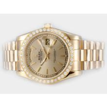 Rolex Day-Date Automatic Full Gold Diamond Bezel with Golden Dial