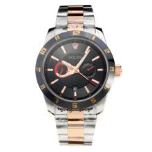 Rolex Automatic Black Bezel Two Tone with Black Dial
