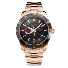 Rolex Automatic Black Bezel Full Rose Gold with Black Dial