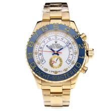 Rolex Yachtmaster II Automatic Full Yellow Gold Ceramic Bezel with White Dial