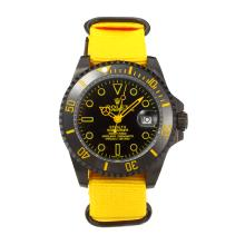 Rolex Submariner Automatic Ceramic Bezel PVD Case with Black Dial-Yellow Nylon Strap