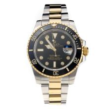 Rolex Submariner Automatic Black Ceramic Bezel Two Tone with Black Dial-Sapphire Glass-Same Chassis as the Swiss Version