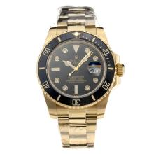 Rolex Submariner Automatic Black Ceramic Bezel Full Yellow Gold with Black Dial-Sapphire Glass-Same Chassis as the Swiss Version