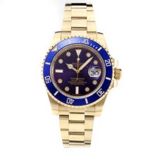 Rolex Submariner Automatic Blue Ceramic Bezel Full Yellow Gold with Blue Dial-Sapphire Glass-Same Chassis as the Swiss Version