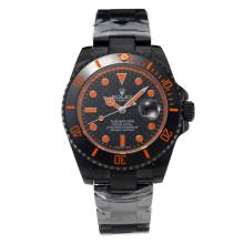 Rolex Submariner Automatic Ceramic Bezel Full PVD with Black Dial-Orange Hands-Sapphire Glass