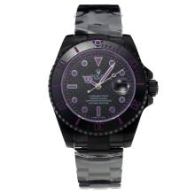 Rolex Submariner Automatic Ceramic Bezel Full PVD with Black Dial-Purple Hands-Sapphire Glass