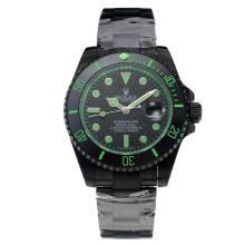 Rolex Submariner Automatic Ceramic Bezel Full PVD with Black Dial-Green Hands-Sapphire Glass