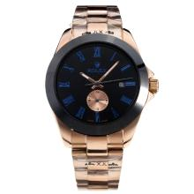 Rolex Automatic Ceramic Bezel Full Rose Gold Blue Markers with Black Dial