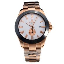Rolex Automatic Ceramic Bezel Full Rose Gold with White Dial