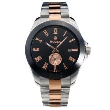 Rolex Automatic Two Tone Ceramic Bezel with Black Dial