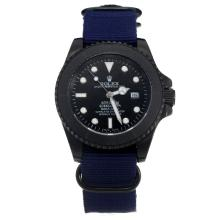 Rolex Submariner Stealth Automatic PVD Case with Black Dial-Blue Nylon Strap-1