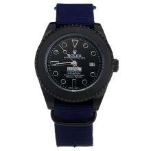 Rolex Submariner Stealth Automatic PVD Case with Black Dial-Blue Nylon Strap