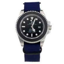 Rolex Submariner Stealth Automatic with Black Dial-Blue Nylon Strap