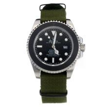 Rolex Submariner Stealth Automatic with Black Dial-Army Green Nylon Strap
