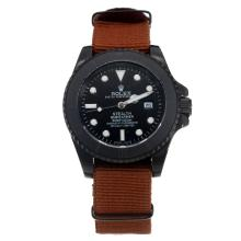 Rolex Submariner Stealth Automatic PVD Case with Black Dial-Brown Nylon Strap