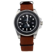 Rolex Submariner Stealth Automatic with Black Dial-Brown Nylon Strap