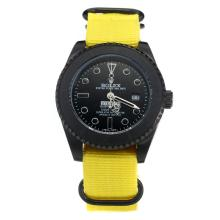 Rolex Submariner Stealth Automatic PVD Case with Black Dial-Yellow Nylon Strap-1