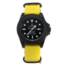 Rolex Submariner Stealth Automatic PVD Case with Black Dial-Yellow Nylon Strap