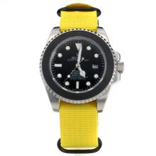 Rolex Submariner Stealth Automatic with Black Dial-Yellow Nylon Strap