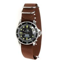 Rolex Submariner Automatic Black Dial with Brown Nylon Strap-Vintage Edition
