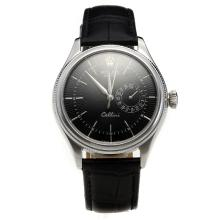 Rolex Cellini Automatic with Black Dial-Leather Strap-2