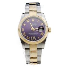 Rolex Oyster Perpetual Datejust Automatic Two Tone Oyster Bezel Roman Markers With Purple Dial-Same Classic as Swiss Version