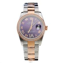 Rolex Datejust Automatic Two Tone Diamond Bezel Roman Markers With Blue Dial-Same Classic As Swiss Version-1