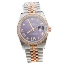Rolex Datejust Automatic Two Tone Diamond Bezel Roman Markers With Blue Dial-Same Classic as Swiss Version