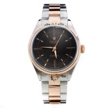 Rolex Celline Automatic Two Tone With Black Dial-Stick Markings