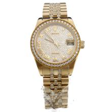 Rolex Datejust Swiss ETA 2836 Movement Full Gold Roman Markers with Diamond Bezel and Dial-Mid Size
